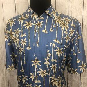 Jos. A. Bank Large Blue Silk Hawaiian Shirt